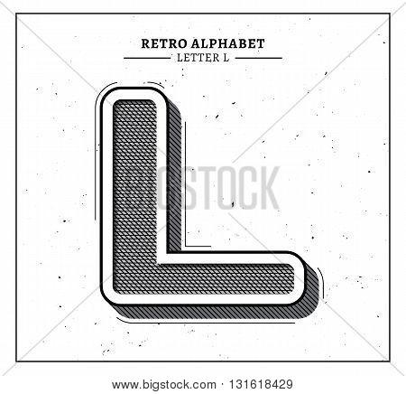 Retro style big 3d letter L icon