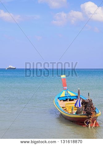 Colorful Boat Nearly The Shore, Phuket Island