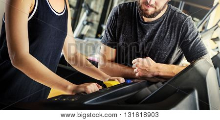 Treadmill Athlete Sporty Healthy Workout Fit Concept