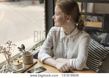 Young Woman Cafe Restaurant Relaxation Concept