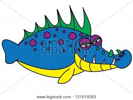 ugly fish sea creature monster vector illustration