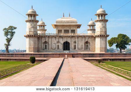 Itimad-ud-Daulah Tomb or Baby Taj in Agra, Uttar Pradesh, India.