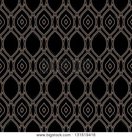 Seamless vector golden ornament. Modern geometric pattern with repeating wavy lines