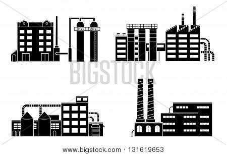 Factory set isolated on white background. Factory icon in the flat style. Industrial factory building. Factory concept. Power factory building. Vector illustration.