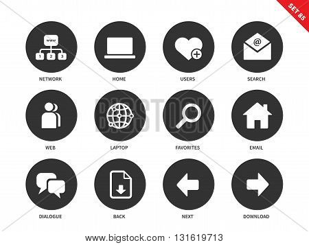 Social network vector icons set. Internet and communication concept. Web pages items, search, user, laptop, email, dialogue and options for navigation. Isolated on white background