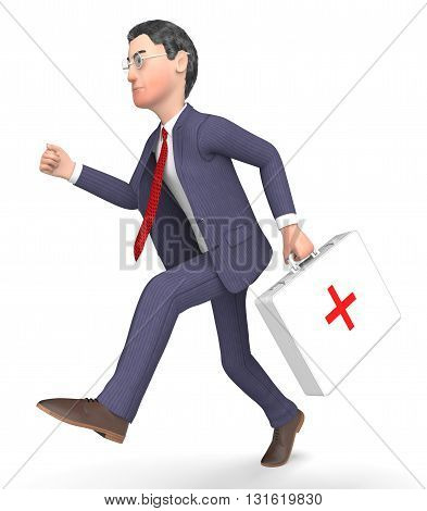 First Aid Shows Business Person And Accident 3D Rendering