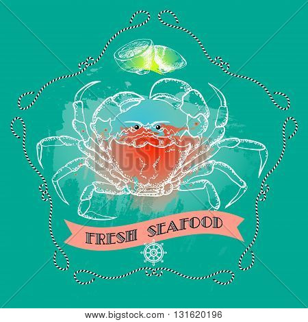 Vector seafood label with crab silhouette, lemon, nautical accessory and words Fresh Seafood on aquamarine background.