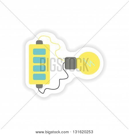 Set of paper stickers on white background  mobile battery charger