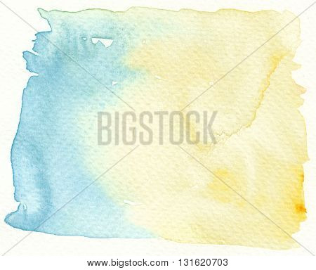 abstract yellow and blue wet paint watercolor background
