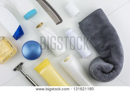 Cosmetics and body care products isolated on white background