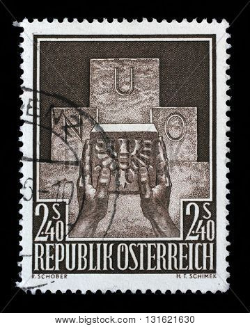 ZAGREB, CROATIA - SEPTEMBER 09: a stamp printed in the Austria shows Symbolic of Austria's Admission to the UN, circa 1956, on September 09, 2014, Zagreb, Croatia