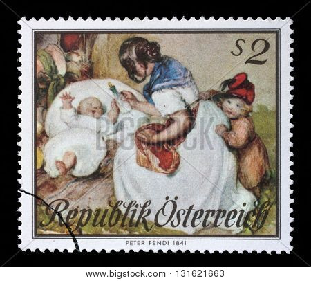 ZAGREB, CROATIA - SEPTEMBER 09: stamp printed by Austria, shows Motherhood, Watercolor by Peter Fendi, circa 1967, on September 09, 2014, Zagreb, Croatia