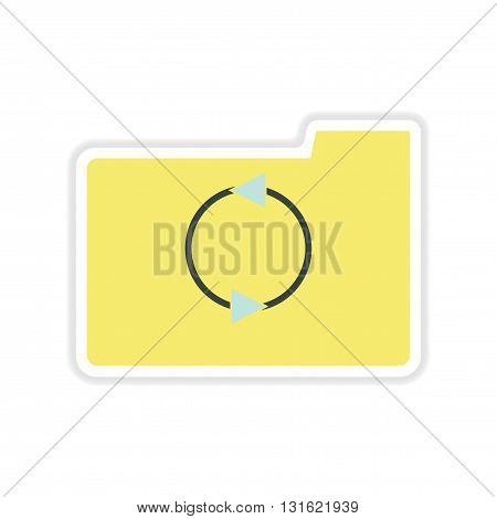 paper sticker on white  background arrow folder
