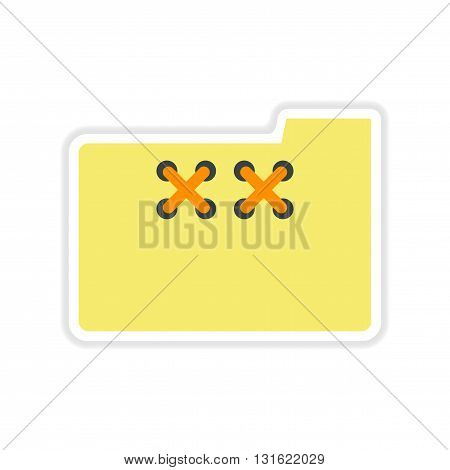 paper sticker on white  background file folder