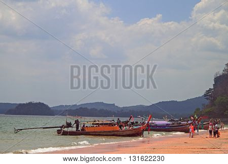 Ao Nang beach Thailand - March 29 2015: people are resting on Ao Nang beach in Thailand