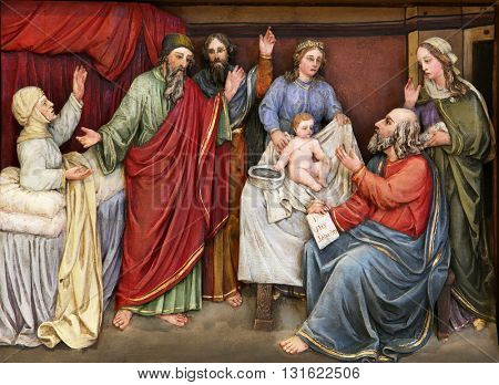 STITAR, CROATIA - AUGUST 27: Birth of St. John the Baptist altarpiece in the church of Saint Matthew in Stitar, Croatia on August 27, 2015