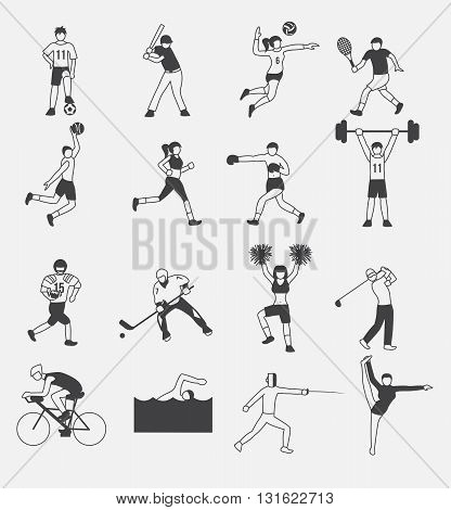 sport icon vector set 1 , 16 icons , all sport