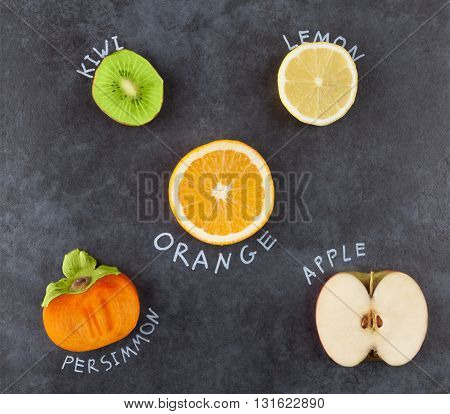 Slices Of Fruit On Dark Grungy Surface