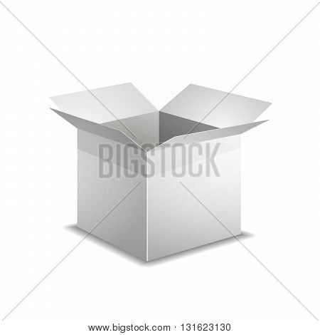 Realistic open white box with shadow isolated on white