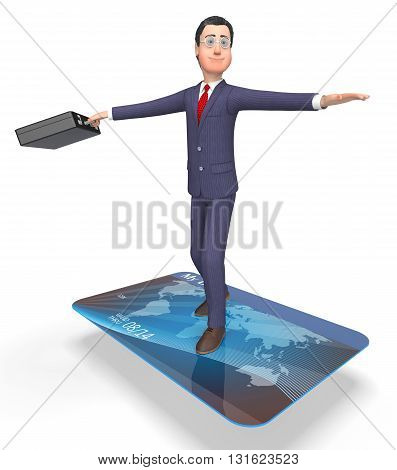 Credit Card Represents Business Person And Bankrupt 3D Rendering