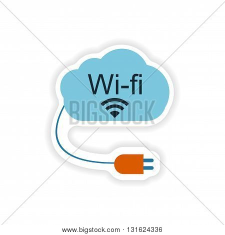 paper sticker on white background  Wi fi cloud