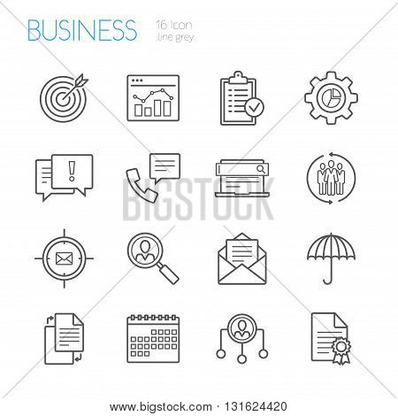 bussines gray line icons set of 16