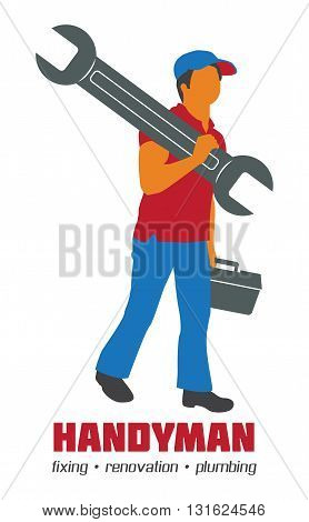 Handyman Vector Illustration Business Sign. Amenities repair house hold equipment fixing symbols. Vector graphics for working tools plumbing renovation best quality service concept. Sample text. Editable