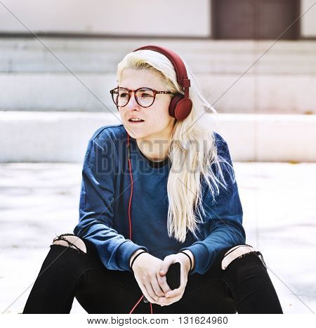 Beautiful Blonde Casual Exercise Fashion Youth Concept