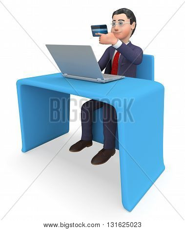 Credit Card Represents World Wide Web And Business 3D Rendering
