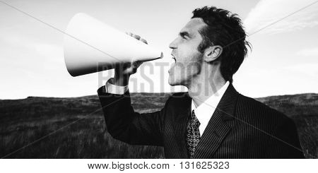 Businessman Shouting Communication Field Concept