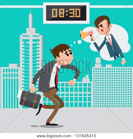 Businessman Late for Work. Angry Boss Screaming in Megaphone Vector illustration