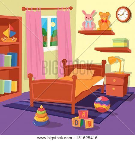 Children Bedroom Interior with Toys. Vector illustration