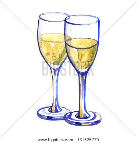 Watercolor two glasses with champagne on white background
