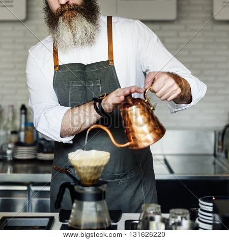 Coffee Apron Drip Brew Cafe Cafeteria Pouring Concept