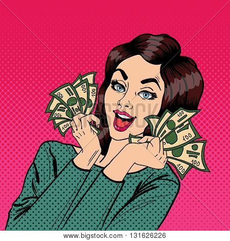 Young Businesswoman Holding Cash. Pop Art Vector illustration