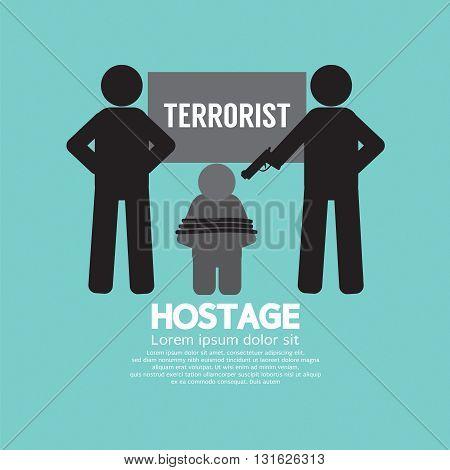 Black Symbol Hostage Concept Vector Illustration. EPS 10