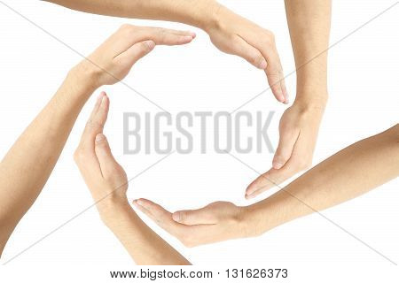 Fusion human hands making a circle with copy space