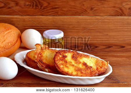 Homemade fried bread croutons. Fried bread with eggs for breakfast. Easy make roasted bread. Quick recipe. Ingredients for cooking snacks