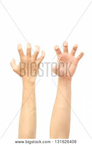 Hands, Bent fingers isolated on white background
