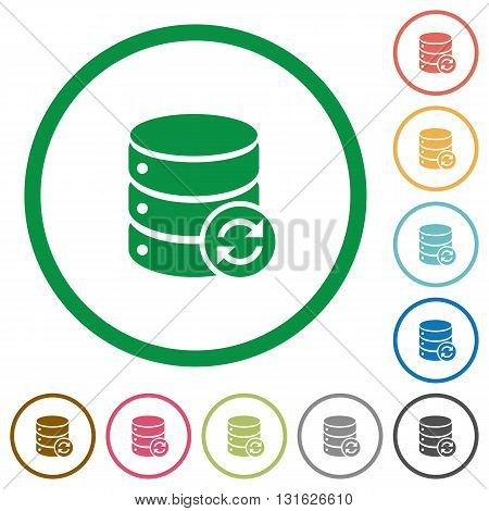 Set of Syncronize database color round outlined flat icons on white background