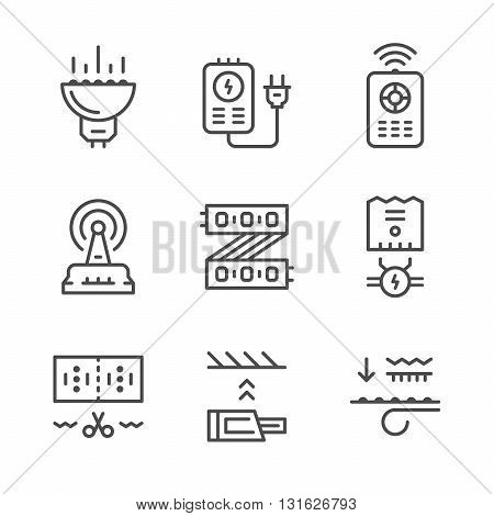 Set line icons of LED equipment isolated on white. Vector illustration