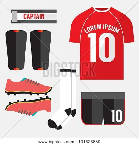 Top View Football Player Gears Vector Illustration. EPS 10