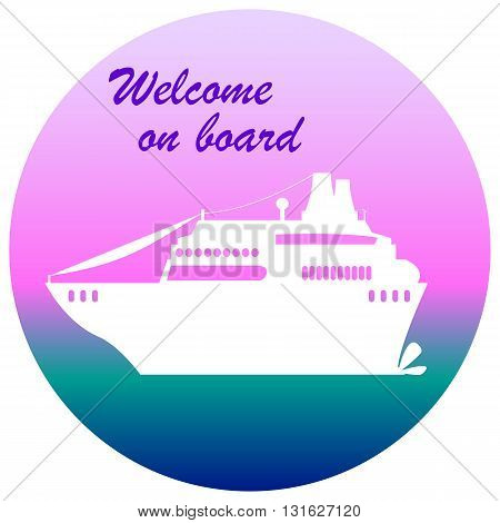 Cruise liner illustration with text place welcome on board cruise banner flat style cruise ship cruise liner print summer travel white cruise liner icon cruise liner vector cruise liner sticker