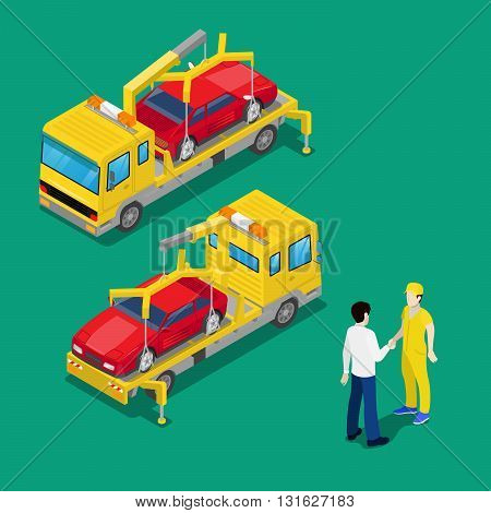 Isometric Car Assistance. Roadside Tow Truck Vector illustration