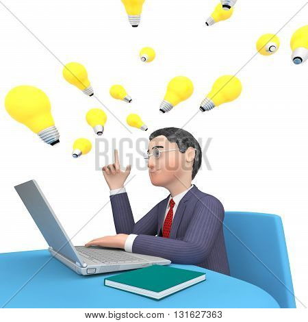 Character Businessman Shows World Wide Web And Computer 3D Rendering