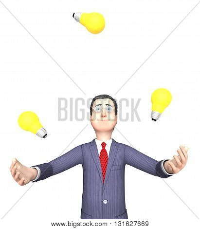 Lightbulbs Character Represents Power Source And Agility 3D Rendering