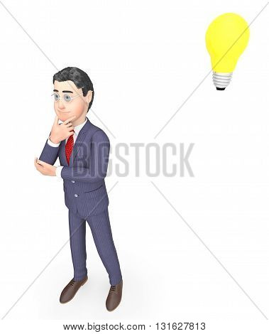 Idea Lightbulb Means Think About It And Businessman 3D Rendering