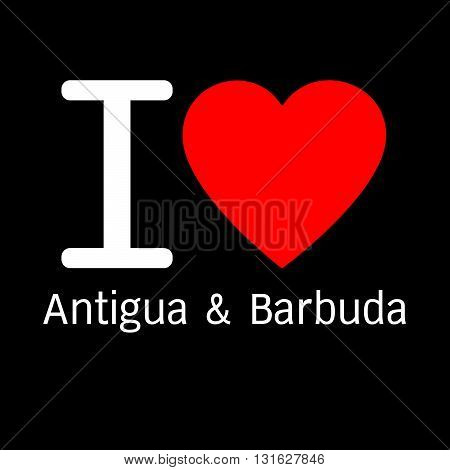 i love Antigua & Barbuda lettering illustration design with sign