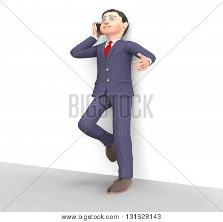 Character Talking Means Phone Call And Calling 3D Rendering