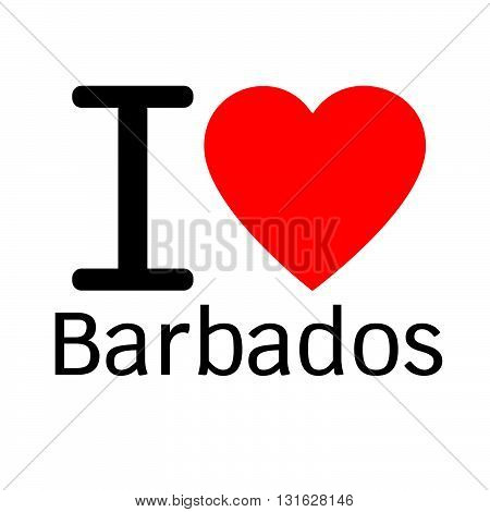 i love Barbados lettering illustration design with heart sign
